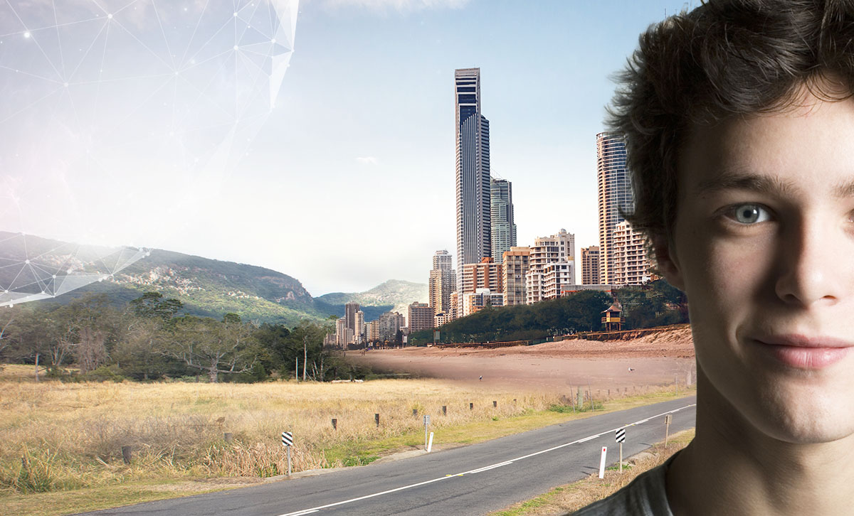 Close up of a young man in front of a futuristic background of brisbane city and a regional landscape.© Department of Science, Information Technology and Information